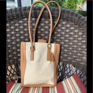 Coach camel  leather & cream linen bucket bag